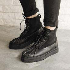 羊皮毛一体冬季加绒男靴短靴保暖真皮靴子马丁靴雪地靴  CY09