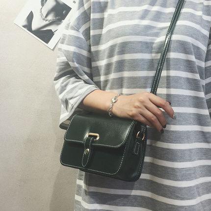 包包女2018新款时尚皮带小方包百搭小包包简约复古单肩包斜挎女包
