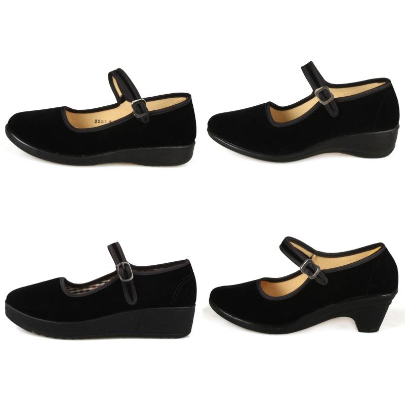 Phẳng nghi lễ giày xác thực toàn cầu Lutai nữ mô hình thấp để giúp một từ với đôi giày màu đen trọng lượng nhẹ giày làm việc giày của phụ nữ