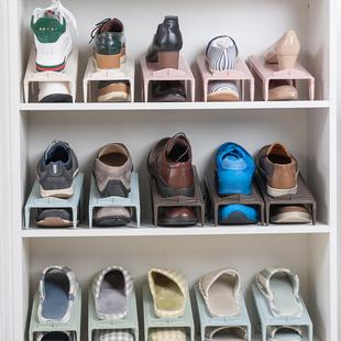 日式鞋子收纳架塑料双层可调节鞋架