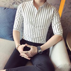 质检已做 男士韩版经典条纹英伦风七分袖衬衫  CC06/P50
