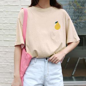 检测实拍?#23548;?纯棉 韩国ins 梨子短袖T恤tee女