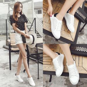 韩板小白鞋女系带休闲单鞋学生平底运动鞋女白色板鞋春冬韩版球鞋
