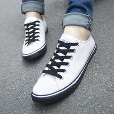 韩版春夏潮男平底帆布鞋时尚透气学生小白鞋百搭男士休闲滑板鞋