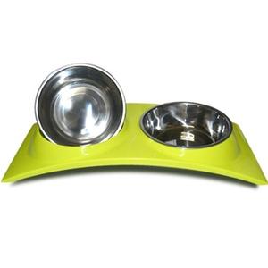 Pet dog, dog và dog phổ thép không gỉ kết hợp uống nước ăn đôi cổ tay thực phẩm bát con chó bát gạo nhu yếu phẩm hàng ngày