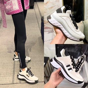 2020 new spring daddy shoes women's double c sports shoes women ins wild running shoes thick bottom leather small white shoes women