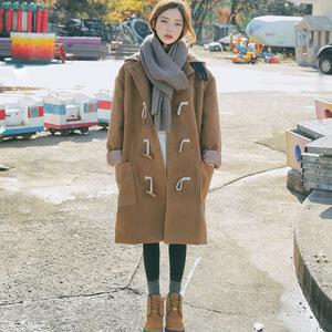 2787#韩国 chic 牛角扣大衣女软妹冬季中长款学院风连帽毛呢外套