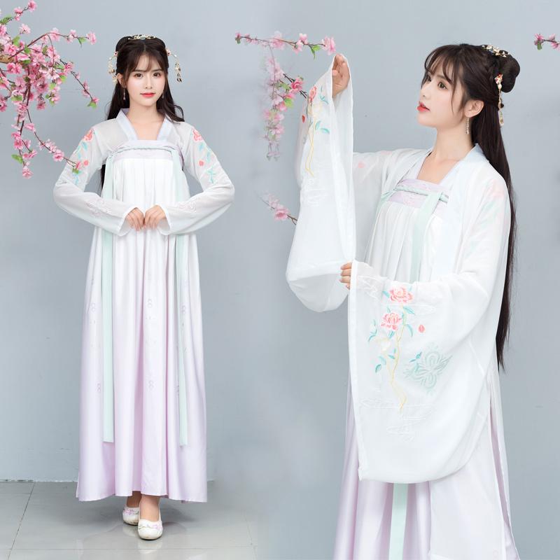 9668原创设计传统汉服改良日常上襦齐胸大袖衫玫瑰刺绣渐变夏款