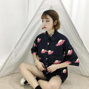 成分~視頻~實拍新款復古顯瘦宇宙印花襯衫polo領女短袖1079#