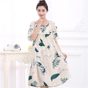 Mùa hè ăn mặc phụ nữ mang thai bông thêm công chúa lớn là mỏng MM dài đêm ăn mặc ngắn tay bông lụa mỏng váy 200 kg