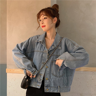 taobao agent Denim jacket female spring and autumn short short, small wild 2021 new Hong Kong style retro style clothes ins tide