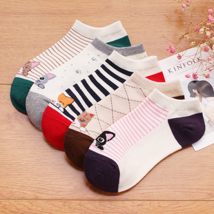 纯棉冬款防滑女船袜5双