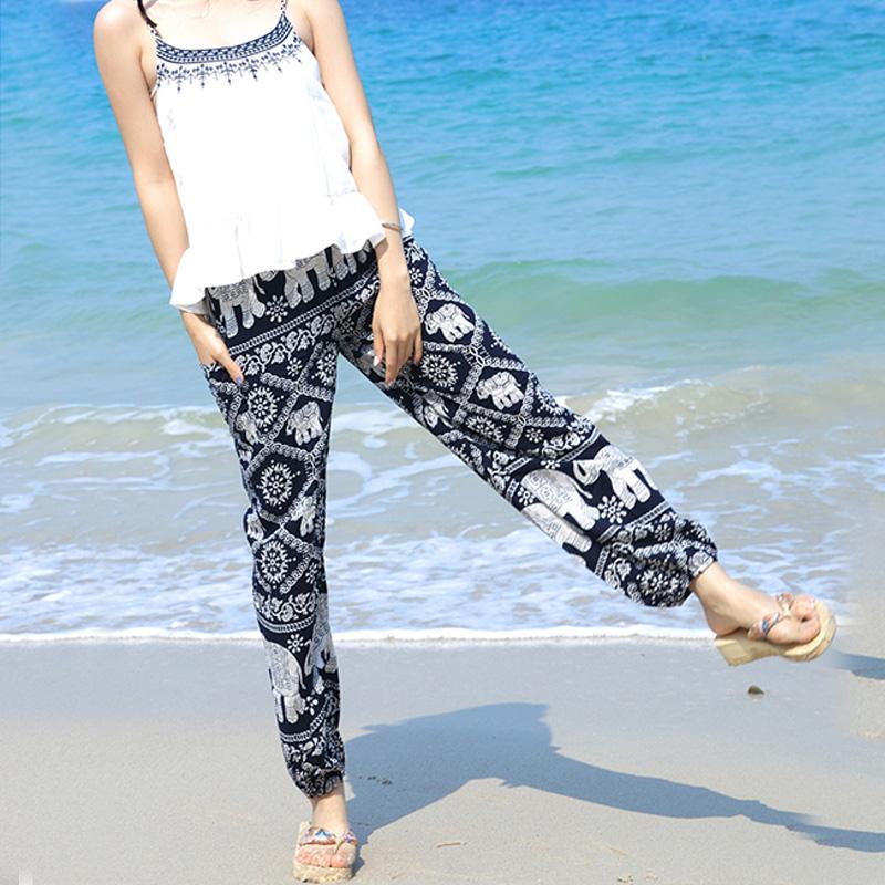 Mùa hè bohemian in nhân tạo bông lụa bãi biển quần phụ nữ quần dài củ cải củ cây bông lụa hậu cung quần