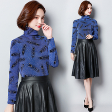 实拍2017韩版新款高领加绒打底衫女士长袖秋冬上衣服保暖加厚8765