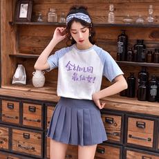 1521#(模特实拍)2019夏装学院风拼色拼接短袖t恤女(220克牛奶丝)