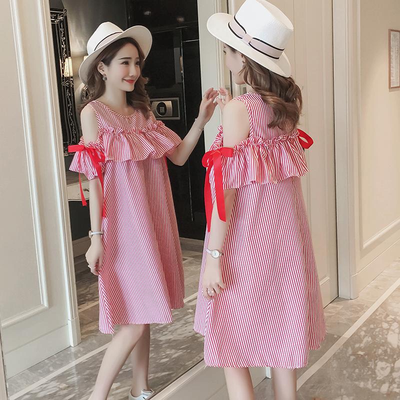103#实拍夏装新款孕妇条纹哺乳露肩蝴蝶连衣裙(产前产后都可以穿