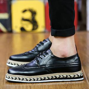 英伦风男鞋布洛克雕花小皮鞋男士厚底松糕鞋百搭休闲鞋YH9109