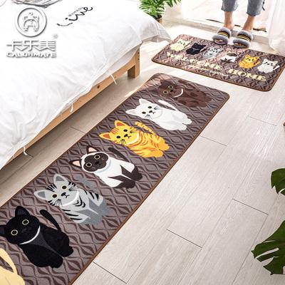 卡乐美 卡通可爱猫咪卧室床边地毯 ins网红风家用