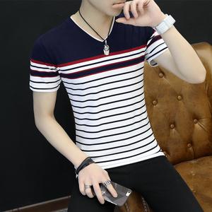 夏季男士短袖T恤v領條紋上衣男潮流衣服青年體恤衫男 阿杰 616#