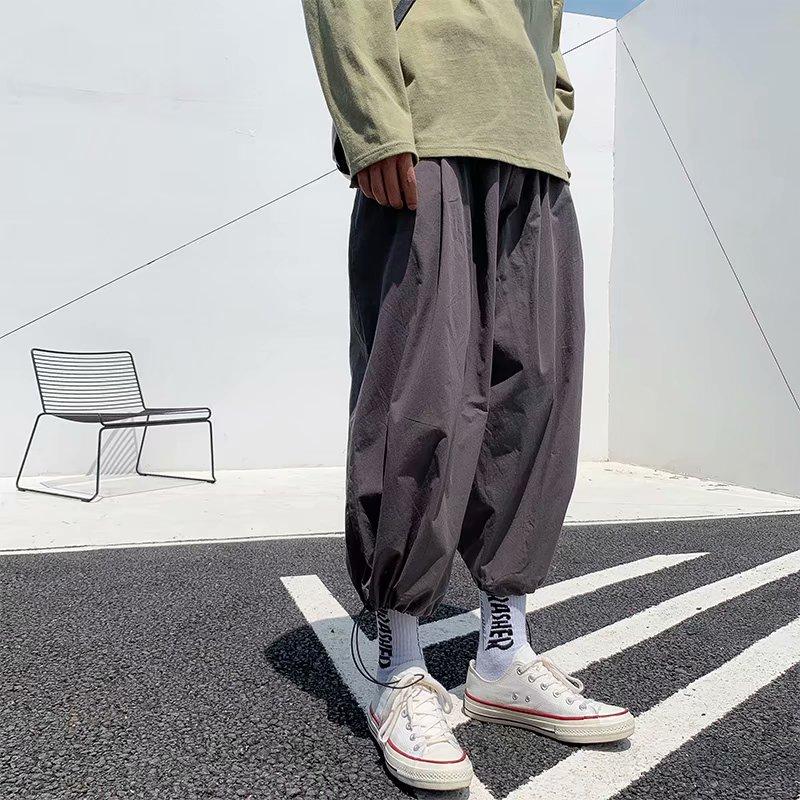 Quần ống rộng ống rộng 9 điểm quần lỏng xu hướng quần nam có dây rút chân 9 điểm quần quần hip-hop lưới màu đỏ - 3/4 Jeans