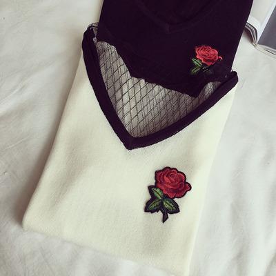 2017夏装新款v领网纱打底衫纯白 t恤女短袖 修身刺绣针织上衣体恤