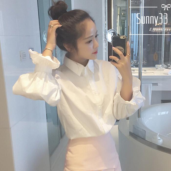 Nhanh tay đỏ người đàn ông Yang Qinglian với dài tay áo sơ mi trắng áo sơ mi bong bóng áo Hàn Quốc phiên bản của nhỏ tươi mỏng áo sơ mi nữ sinh viên