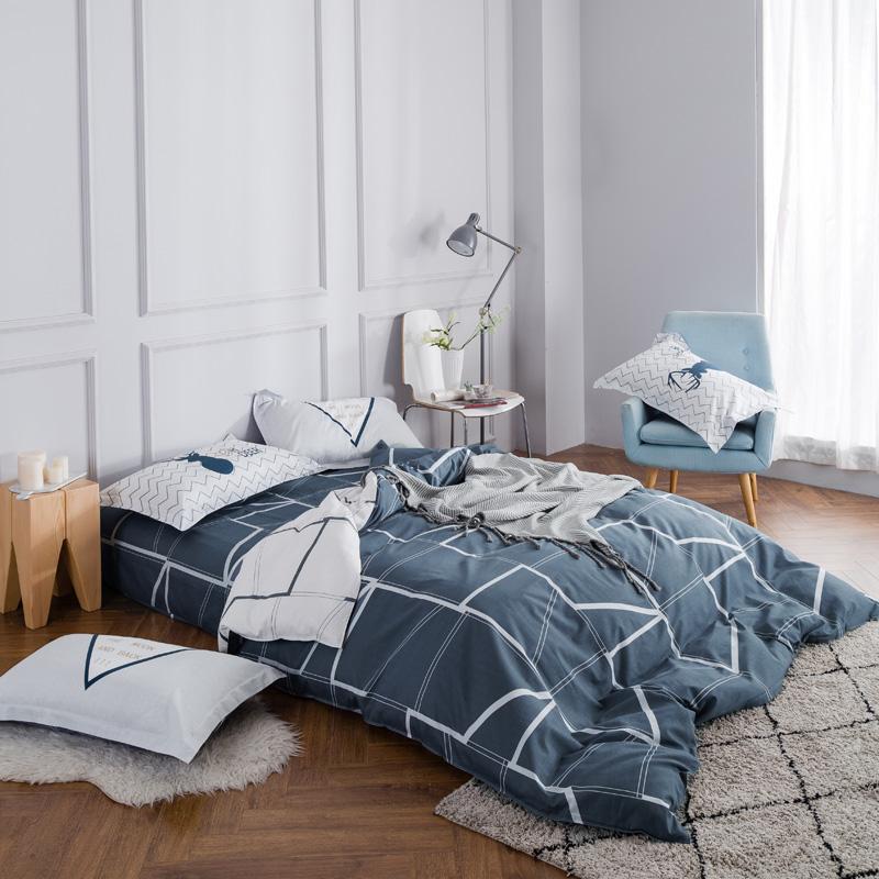 新款简约纯棉床笠四件套三件套全棉斜纹床上用品1.2/1.5/1.8m床