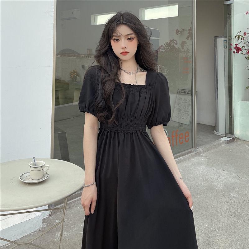 黑色高腰方领超仙垂感收腰连衣裙