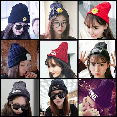 韩国毛线帽子女秋冬天加厚保暖贴布标针织帽韩版潮男士套头帽冬季