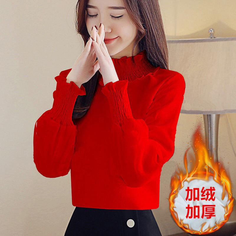 秋冬新款衬衫女韩版2019宽松显瘦百搭加绒高领长袖上衣女打底衫