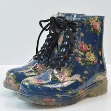 时尚冬季女士透明花布雨鞋马丁保暖水鞋水靴 学生雨鞋 一件代发
