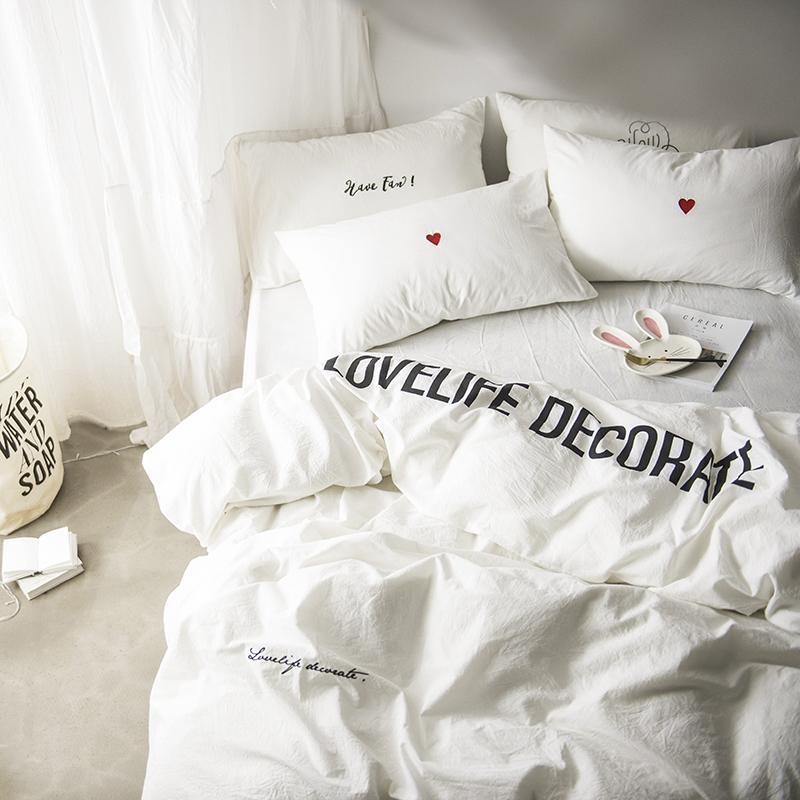 Bắc âu đơn giản bông trắng thư tình rửa bông thêu bốn mảnh cotton quilt cover sheets giường đôi