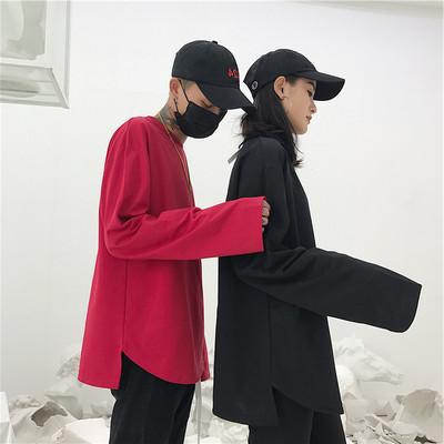 Hàn Quốc phòng thu Hàn Quốc với hem chia ngã ba màu dài tay áo thun áo len mỏng 18ss người đàn ông và phụ nữ mô hình áo polo nam uniqlo Áo phông dài