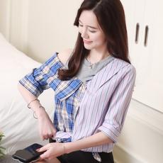 实拍8575#雪纺上衣女韩版夏新款条纹拼接五分袖假两件露肩衬衣潮
