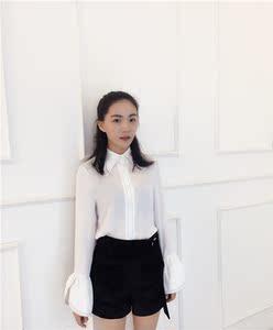 实拍现货新款韩版荷叶边喇叭袖明线装饰白色百搭显瘦上衣女式衬衫