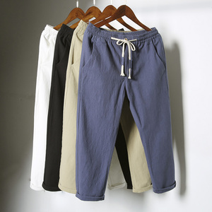 Người đàn ông của mùa hè linen chín quần của nam giới quần quần âu nam phần mỏng lỏng 9 điểm 8 tám điểm cotton và linen nam quần thủy triều