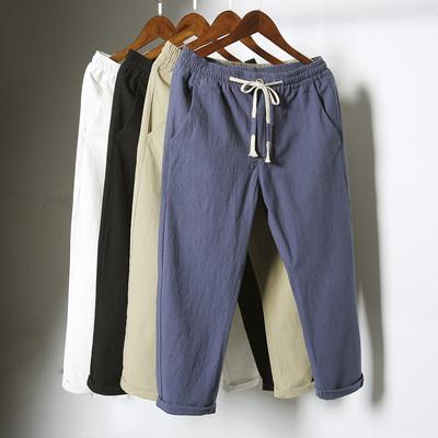 Người đàn ông của mùa hè linen chín quần của nam giới quần quần âu nam phần mỏng lỏng 9 điểm 8 tám điểm cotton và linen nam quần thủy triều Crop Jeans