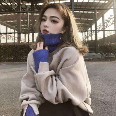 ins假两件高领卫衣女学生韩版宽松秋冬季连帽长袖加绒加厚外套潮