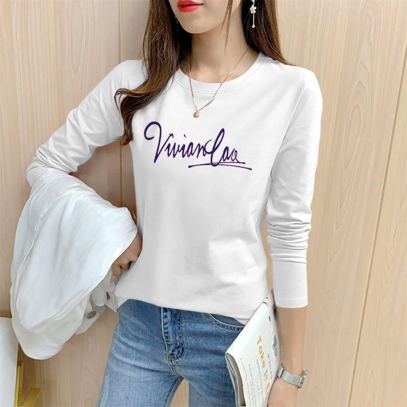 【买一送一】100%纯棉长袖t恤女2021春季新款大码宽松上衣打底衫