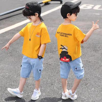 男童套装夏季中大童2021新款儿童运动韩版帅气短袖两件套牛仔裤潮