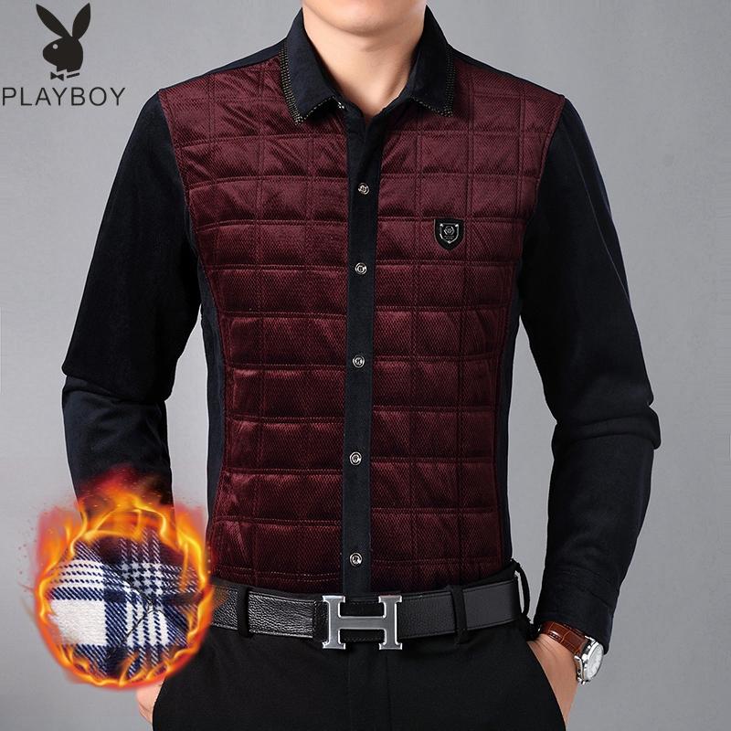 男士保暖棉袄衬衫2019冬季棉衣加厚夹棉丝绒外套中老年宽松爸爸装