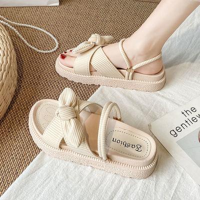 网红配裙子凉鞋女夏仙女风2021新款时尚学生厚底ins潮罗马平底鞋