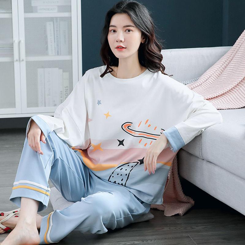 韩版新款长袖睡衣女春秋棉料韩版少女甜美可爱家居服两件套
