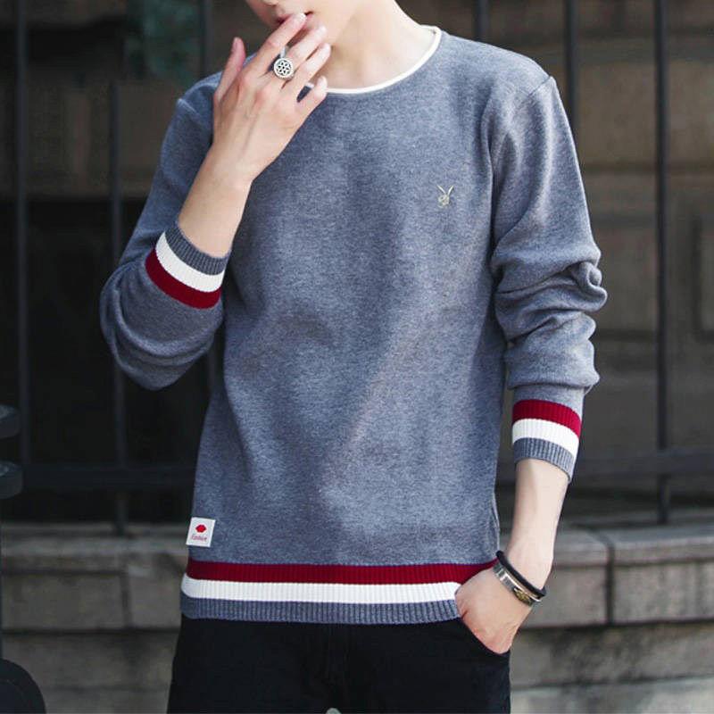 秋季新款针织打底衫男线衣修身纯色圆领毛衣