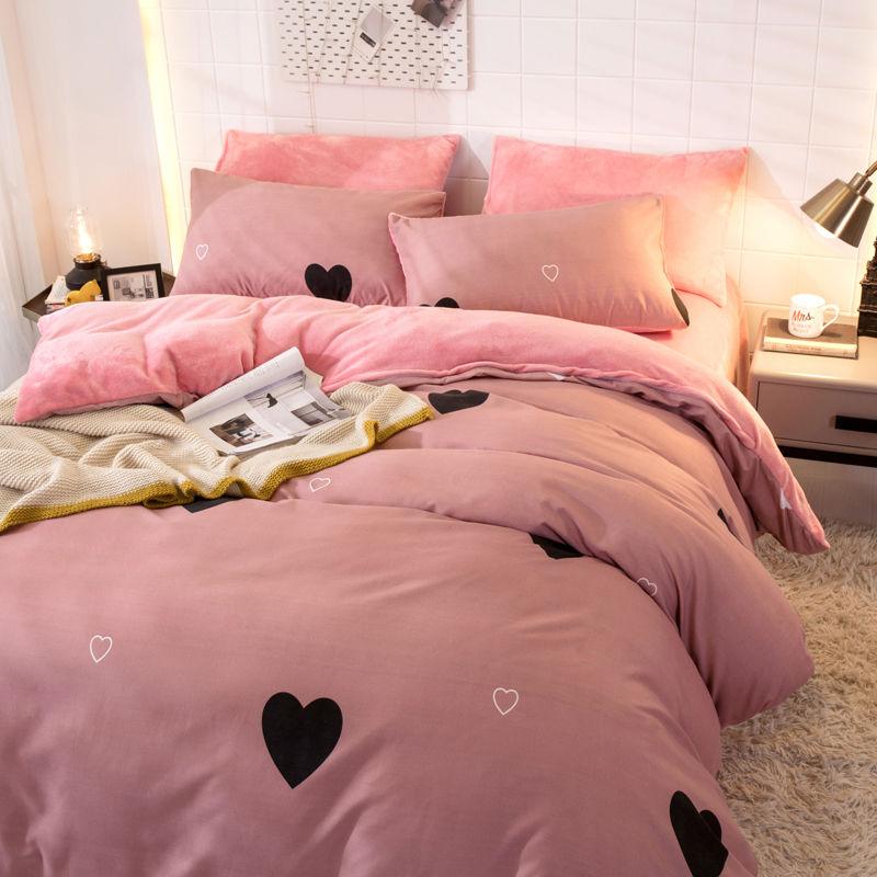 加厚法蘭絨四件套珊瑚絨秋冬季雙面絨被套床單加絨三件套床上用品