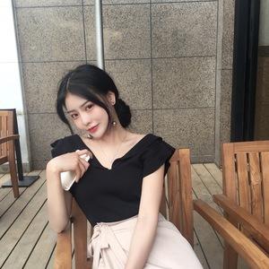 Mùa hè Hàn Quốc phiên bản của gió sang trọng gỗ tai nhỏ bay tay áo mỏng giảm béo khí v- cổ áo len áo sơ mi của phụ nữ mới