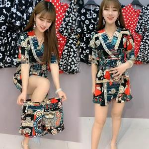 韩国站 雪纺裙子两件套夏季2020新款潮韩版显瘦连衣裙网红短裤女