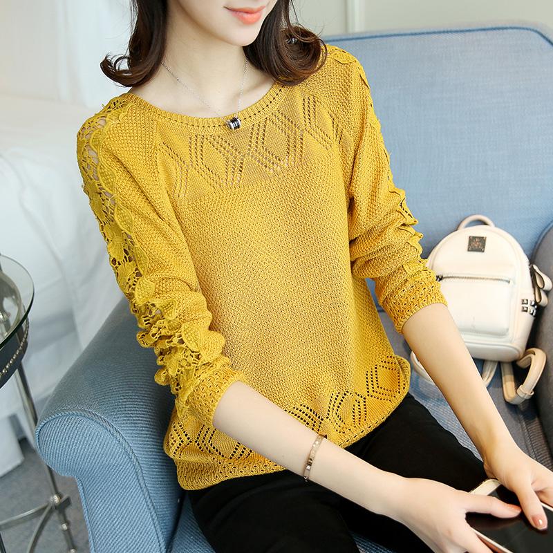 春装新款女冰丝针织衫长袖韩版宽松短款套头毛衣蕾丝打底衫薄36