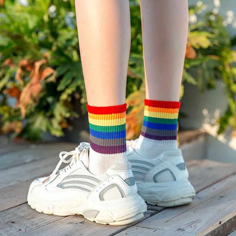 彩虹中筒袜子女纯棉男袜防臭白色黑色长筒袜