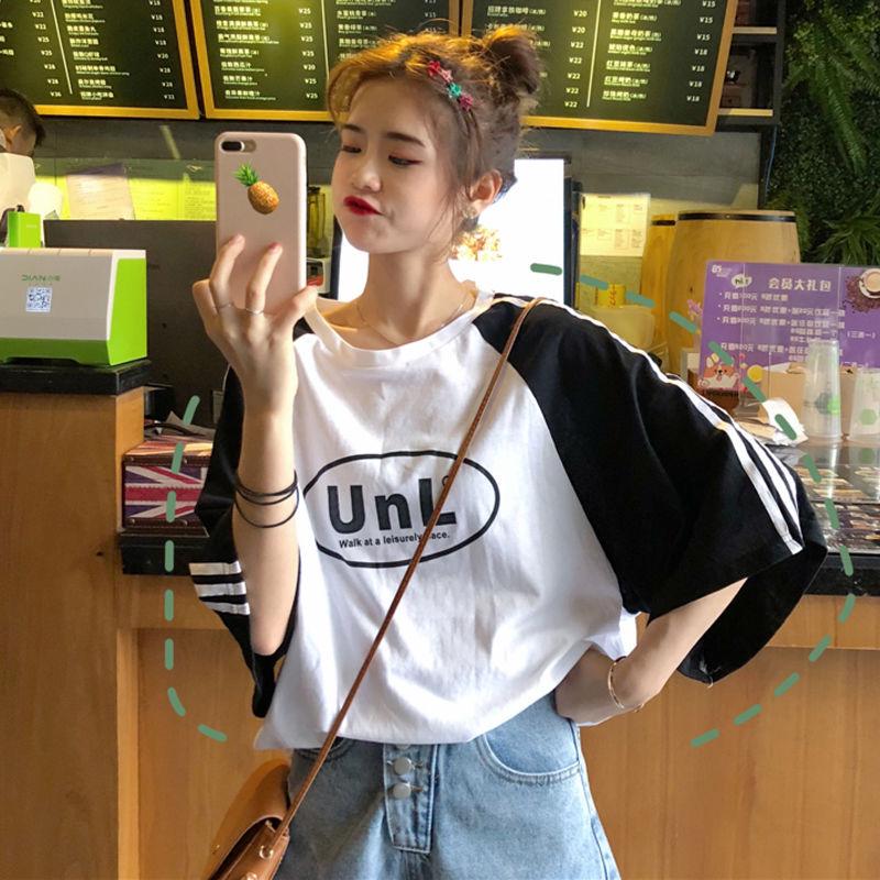 夏季原宿风短袖T恤女学生韩版宽松学院风拼色五分袖上衣体恤衫潮